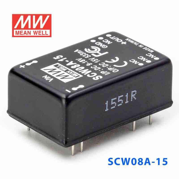 Meanwell SCW08A-15 DC-DC Converter - 8W 9~18V DC in 15V out
