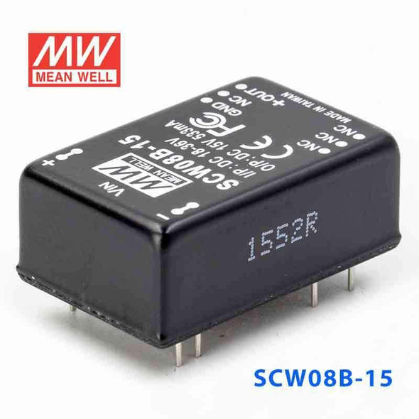Meanwell SCW08B-15 DC-DC Converter - 8W 18~36V DC in 15V out