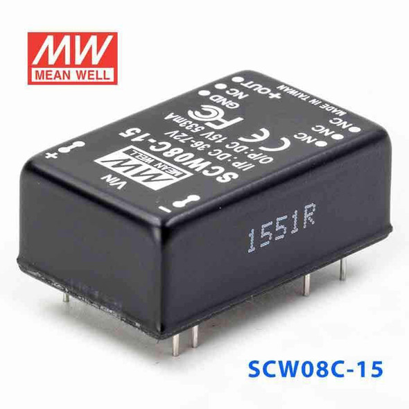 Meanwell SCW08C-15 DC-DC Converter - 8W 36~72V DC in 15V out