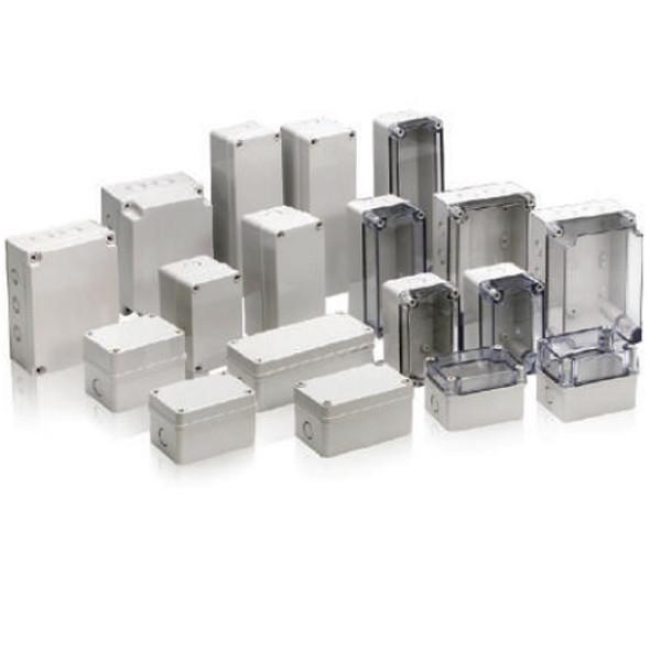 Boxco S-Series 80×130×85mm Plastic Enclosure, IP67, IK08, ABS, Transparent Cover, Screw Type