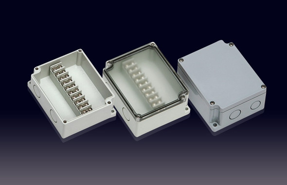 Boxco Terminal Box 10-pole 75x125x43mm, IP67, IK08, ABS, Transparent Cover