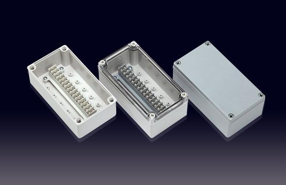 Boxco Terminal Box 15-pole 100x185x70mm, IP67, IK08, ABS, Grey Cover