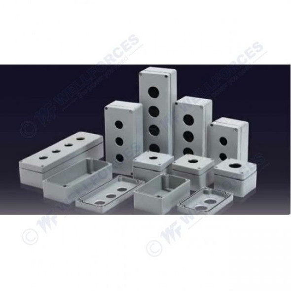 Boxco Push Button Box, 80x130x70 - 2 HOLE, IP67, IK08, ABS, Grey Cover