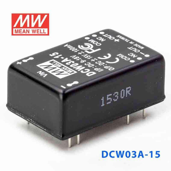 Meanwell DCW03A-15 DC-DC Converter - 3W - 9~18V in ±15V out