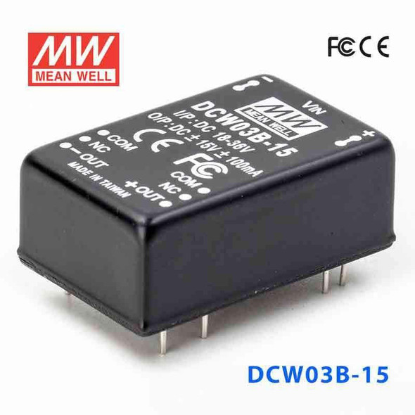 Meanwell DCW03B-15 DC-DC Converter - 3W - 18~36V in ±15V out