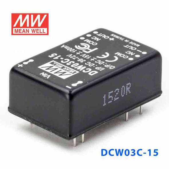 Meanwell DCW03C-15 DC-DC Converter - 3W - 36~72V in ±15V out