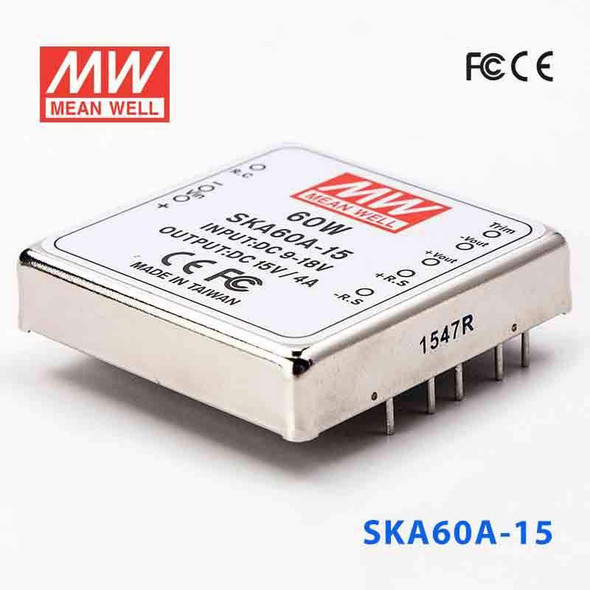 Meanwell SKA60A-15 DC-DC Converter - 60W - 9~18V in 15V out