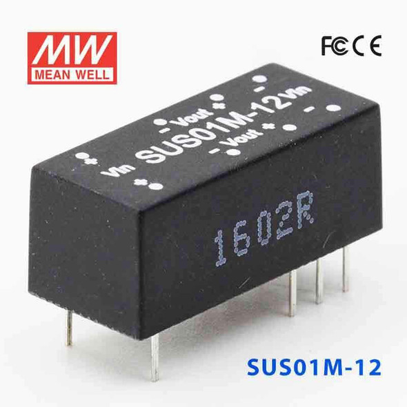 Meanwell SUS01M-12 DC-DC Converter - 1W - 10.8~13.2V in 12V out