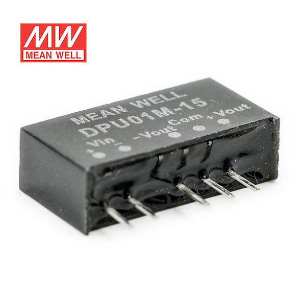 Meanwell DPU01M-15 DC-DC Converter - 1W - 10.8~13.2V in ±15V out
