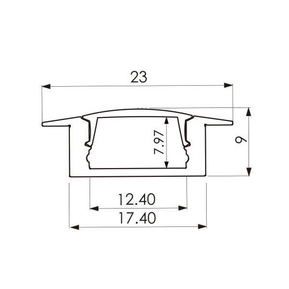 LED Extrusion EXRS03 Linear Profile - 2 Metres