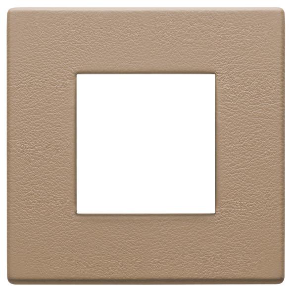 Vimar Eikon Plate 2M Leather Savannah Beige - Square