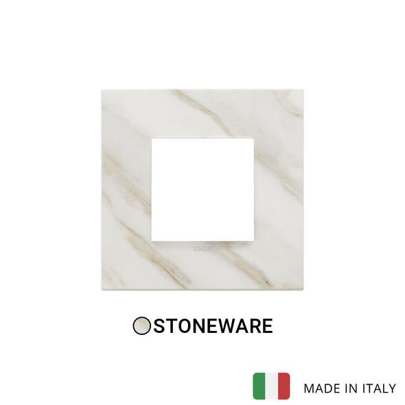 Vimar Eikon Plate 2M Marbl.Stoneware White Calacatta - Square