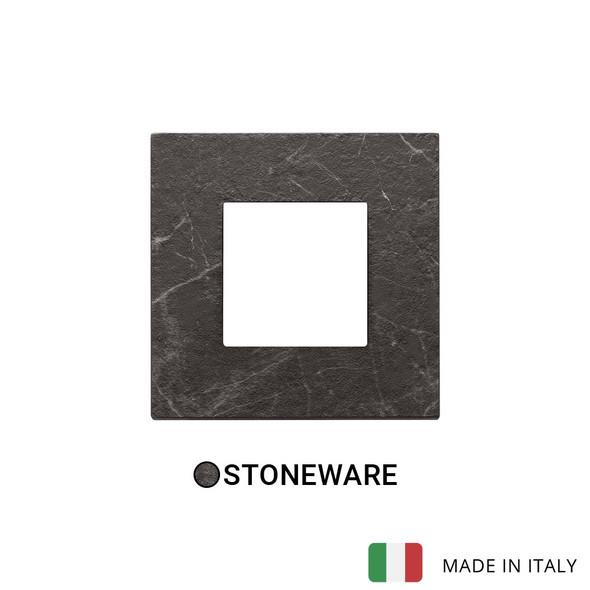 Vimar Eikon Plate 2M Marbl.Stoneware Black Marquina - Square