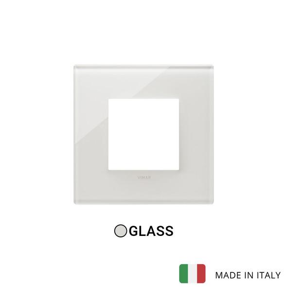 Vimar Eikon Plate 2M Glass Cream White - Square