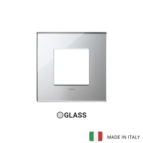 Vimar Eikon Plate 2M Mirror Glass Ice Silver - Square