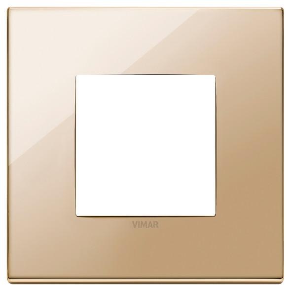 Vimar Eikon Plate 2M Polished Metal Gold - Square