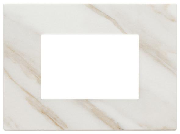 Vimar Eikon Plate 3M Marbl.Stoneware White Calacatta