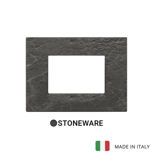 Vimar Eikon Plate 3M Marbl.Stoneware Black Marquina