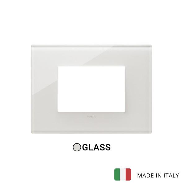 Vimar Eikon Plate 3M Glass Cream White