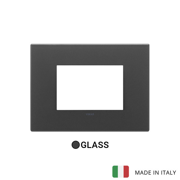 Vimar Eikon Plate 3M Glass Satin Black