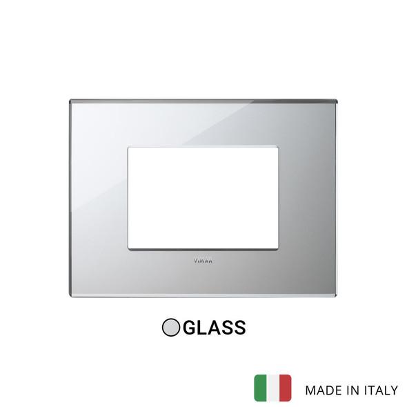 Vimar Eikon Plate 3M Mirror Glass Ice Silver