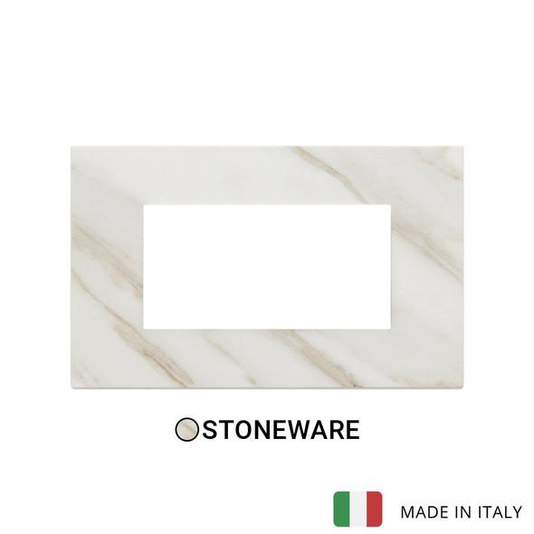 Vimar Eikon Plate 4M Marbl.Stoneware White Calacatta