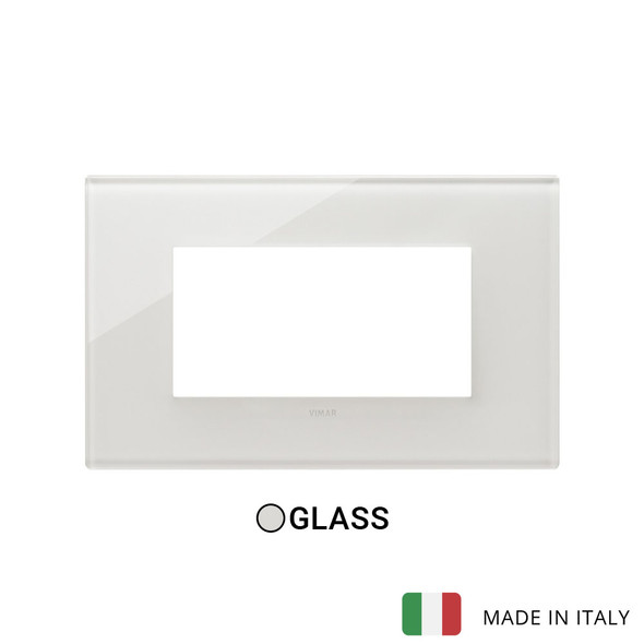 Vimar Eikon Plate 4M Glass Cream White