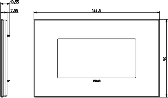 Vimar Eikon Plate 4M Glass Satin Black