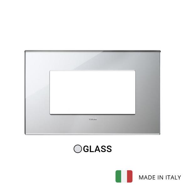 Vimar Eikon Plate 4M Mirror Glass Ice Silver