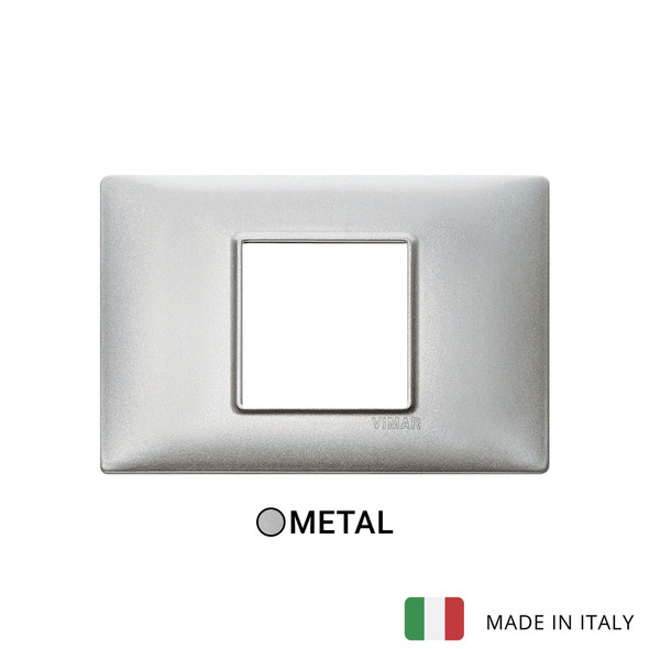 Vimar Plana Plate 2centrM Metal Metallized Silver