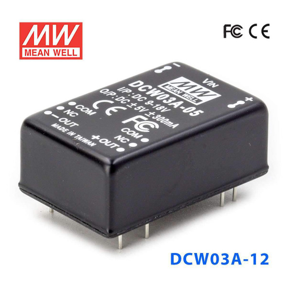 Meanwell DCW03A-12 DC-DC Converter - 3W - 9~18V in ±12V out