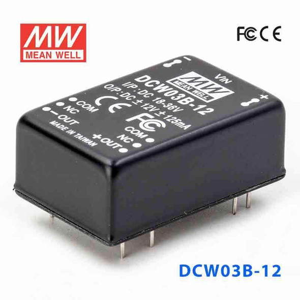 Meanwell DCW03B-12 DC-DC Converter - 3W - 18~36V in ±12V out