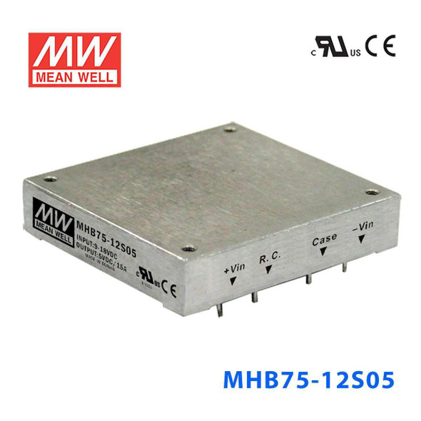 Meanwell MHB75-12S05 DC-DC Converter - 75W - 9~18V in 5V out