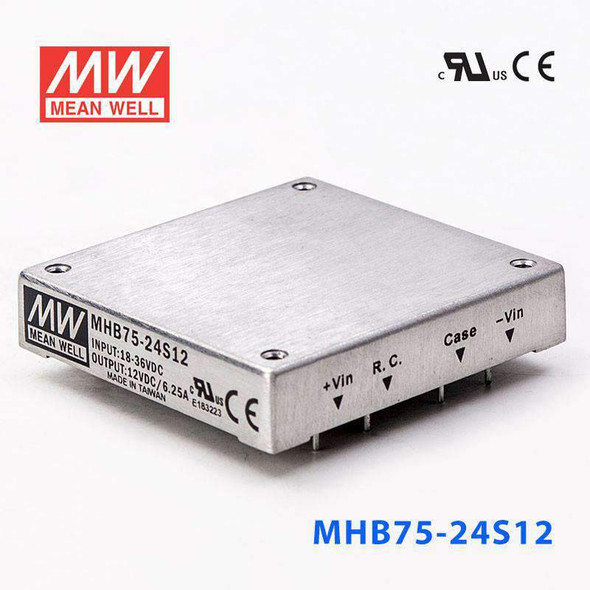 Meanwell MHB75-24S12 DC-DC Converter - 75W - 18~36V in 12V out