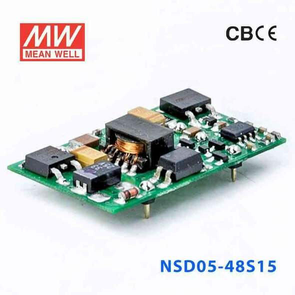 Meanwell NSD05-48S15 DC-DC Converter - 4.95W - 18~72V in 15V out