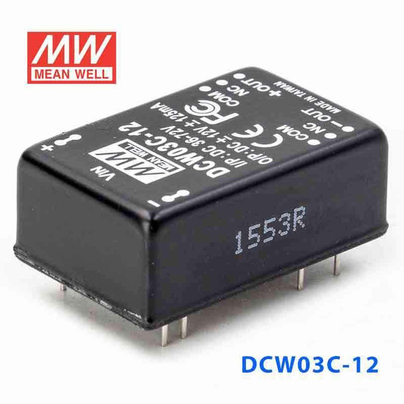 Meanwell DCW03C-12 DC-DC Converter - 3W - 36~72V in ±12V out