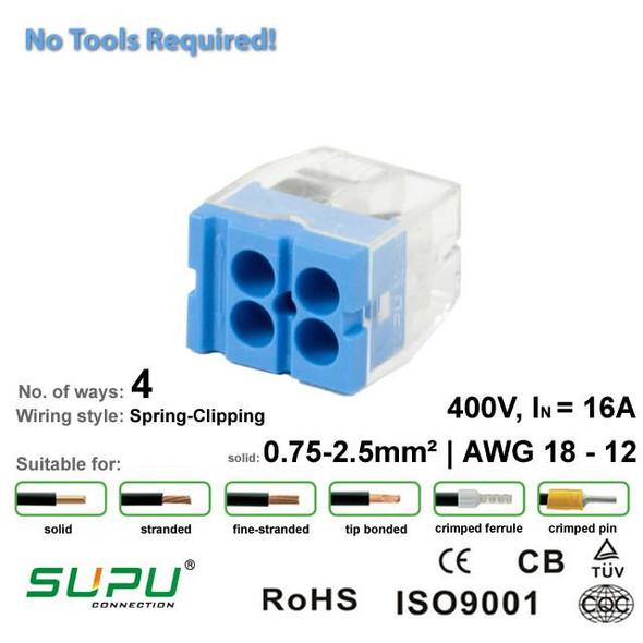 Supu 522404 Push-in Connector - 4 Way