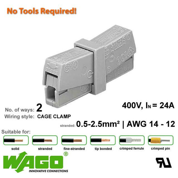 Wago 224-201 Lighting Connector - 2 Way