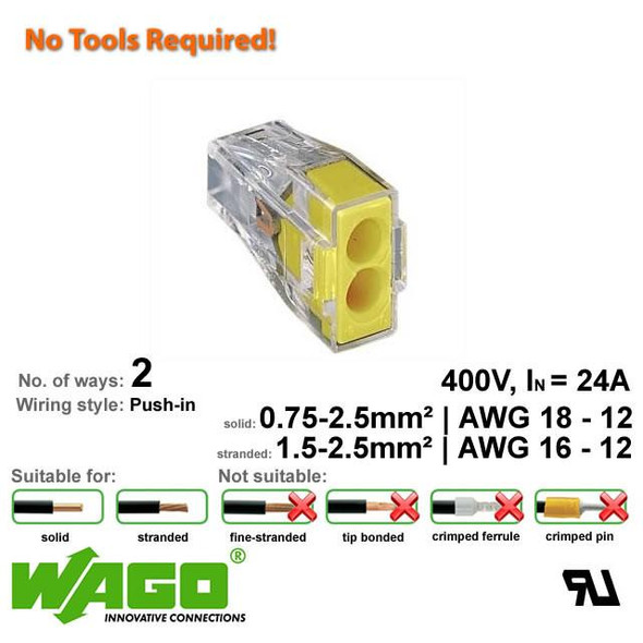 Wago 773-102 Push Wire Connector - 2 Way