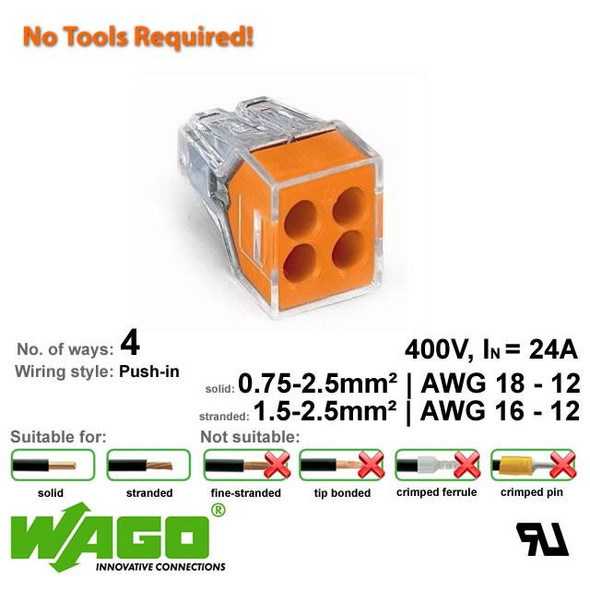 Wago 773-104 Push Wire Connector - 4 Way