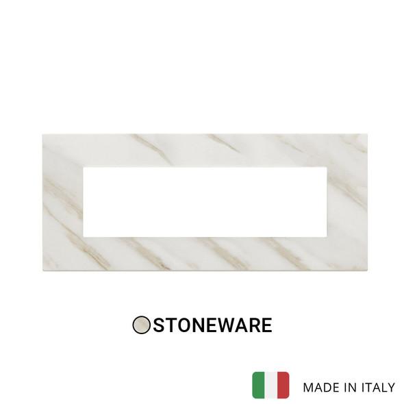 Vimar Eikon Exe Plate 7M Marbl Stoneware White Calacatta