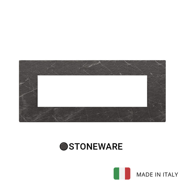 Vimar Eikon Exe Plate 7M Marbl Stoneware Black Marquina
