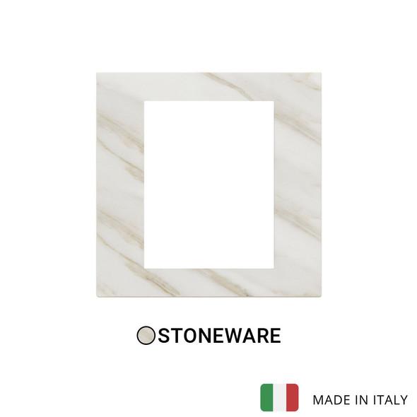 Vimar Eikon Exe Plate 8M Marbl Stoneware White Calacatta