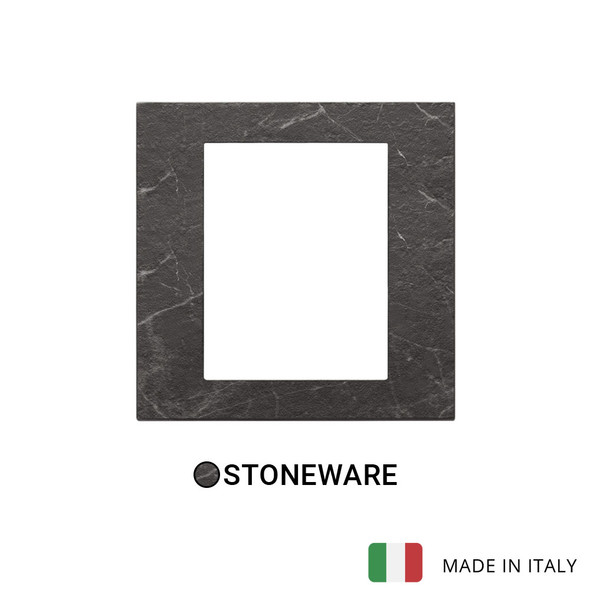 Vimar Eikon Exe Plate 8M Marbl Stoneware Black Marquina