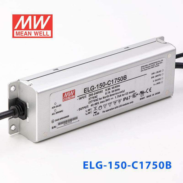 Mean Well ELG-150-C1750B Power Supply 150W 1750mA - Dimmable