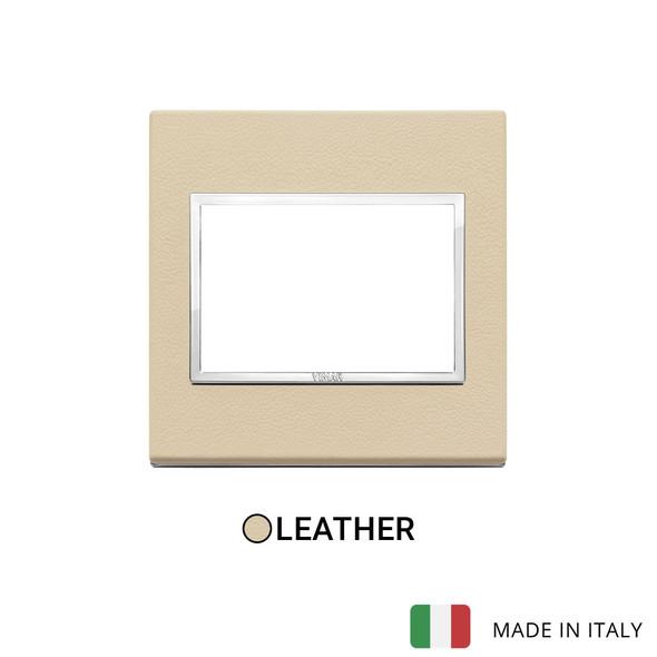 Vimar Eikon Evo Plate 3M Leather Cream - British Standard