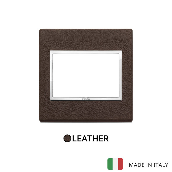 Vimar Eikon Evo Plate 3M Leather Tobacco - British Standard