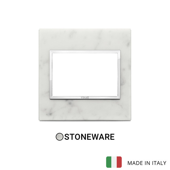 Vimar Eikon Evo Plate 3M Stone Carrara White - British Standard