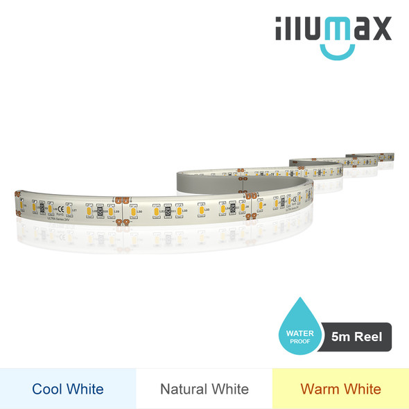 iLLUMAX LED Strip ULTRA Series 120LEDs/m 14.4W/m 24V - Waterproof - 5m Reel