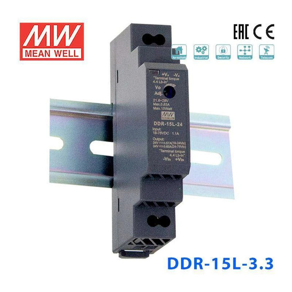 Meanwell DDR-15L-3.3 DC-DC Converter - 11.6W - 18~75V in 3.3V out